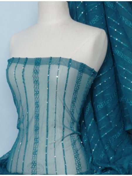 Teal Blur Sheer Curtains Living Room Decorations: Teal Blue Sequins Power Mesh Stretch Fabric