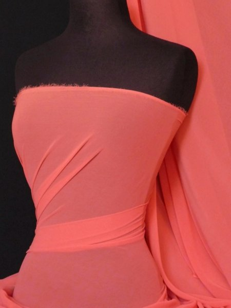 Chiffon Soft Touch Sheer Fabric Material  Coral Q354 CRL ...