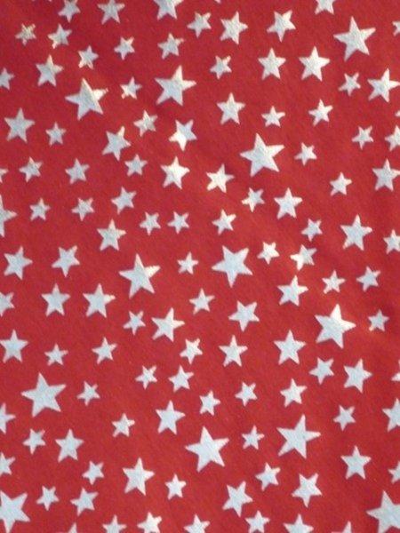 Silver Stars Red Soft Fine Rib Knit Material