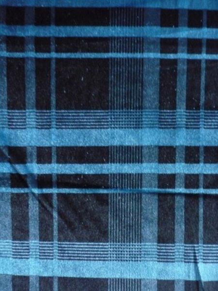 Turquoise Blue Tartan Velvet Spandex Fabric