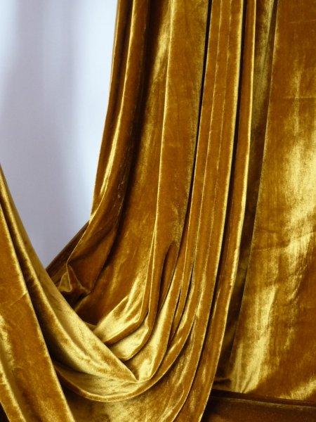 Mustard Velvet Velour Stretch Spandex Lycra Fabric Q1174 Mst