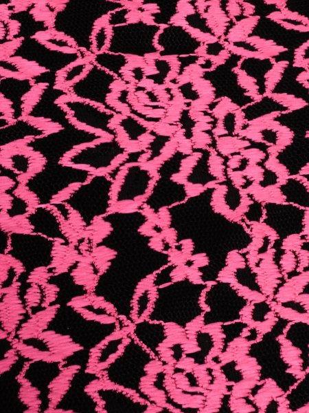 lace scalloped lycra 4 way stretch fabric neon pinkblack