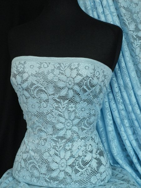 Light Blue Floral Stretch Lace Fabric