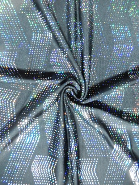 Hologram rainbow foil stretch spandex 3d space waves for Lycra space fabric