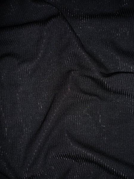 Soft Fine Rib Cotton Lycra Jersey Knit Material Black RB45 BK