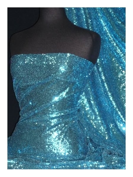 fc6d7a11 Showtime Fabric All Over Stitched 3mm Sequins - Turquoise Blue SEQ53 TQS