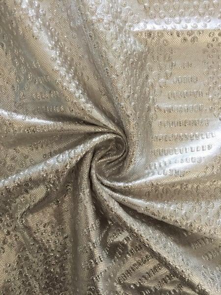8bbf85ddc96 Metallic Foil Lurex Stretch Fabric- Silver/Matt Gold SQ179 GLSLV