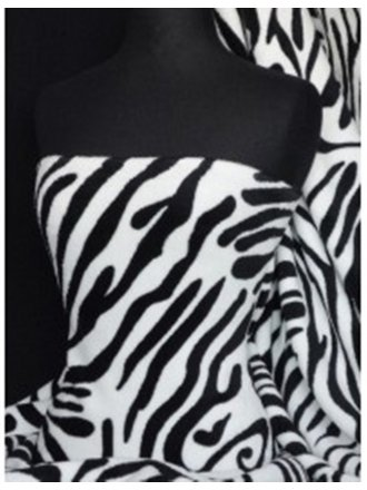 Micro Fleece Ultra Soft Fabric- Black/White Zebra Q876 BKWHT