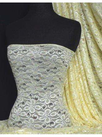 Lemon Sequins Hologram Stretch Lace Fabric