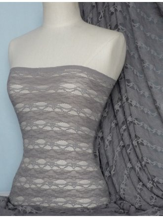 Lace 4 Way Stretch Stripe Fabric- Grey Q585 GR