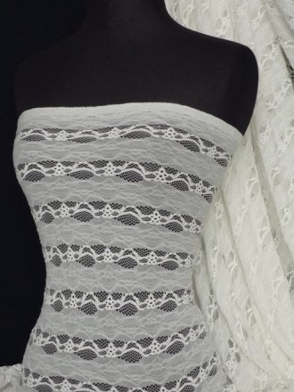 Lace 4 Way Stretch Stripe Fabric- Cream Q585 CRM