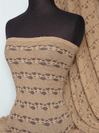 Mocha Brown 4 Way Stretch Stripe Lace Fabric
