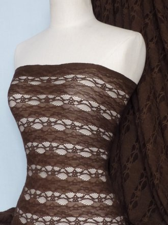 Lace 4 Way Stretch Stripe Fabric- Chocolate Brown Q585 CHBR