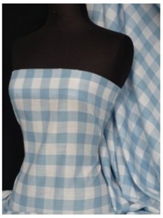 Poly Cotton Material- Pale Blue Gingham Q561 PBL