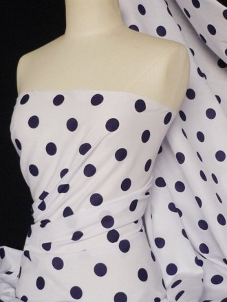 Poly Cotton Material- Navy Polka Dots Q708 NY