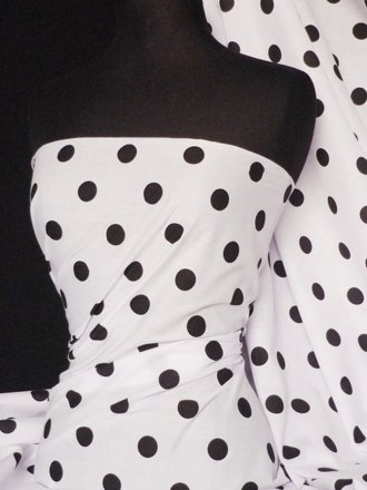 Poly Cotton Material- Black Polka Dots Q708 BK