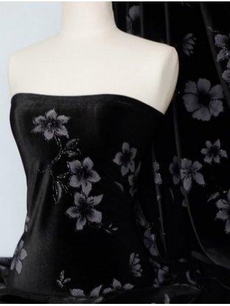 Black Floral Velvet 2 Way Stretch Spandex Lycra