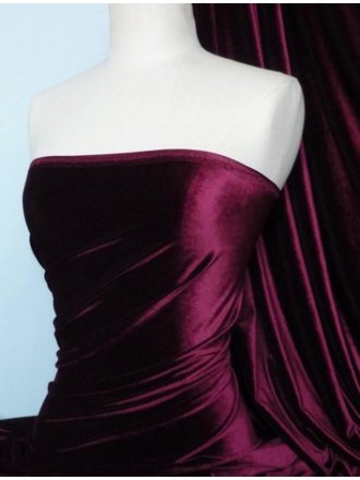 Velvet /Velour 4 Way Stretch Spandex Lycra- Claret Q559 CLT