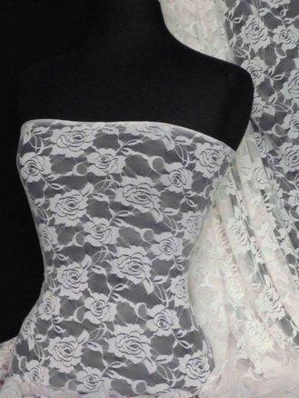 Lace Rose Flower Stretch Fabric- Cream Q963 CRM