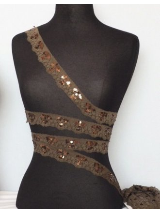 Mocha Brown Sequin Scalloped Edging Stretch Lace Trim