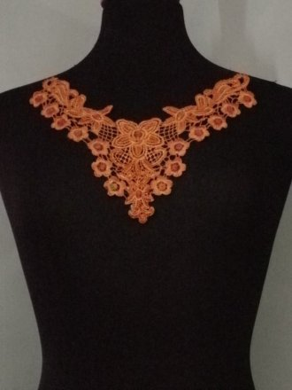Flower Lace Neck Piece- Apricot Orange EM137 OR