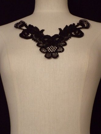 Sequin Floral Lace Neck Piece- Black EM140 BK