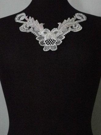 Sequin Floral Lace Neck Piece- Angel White EM140 WHT
