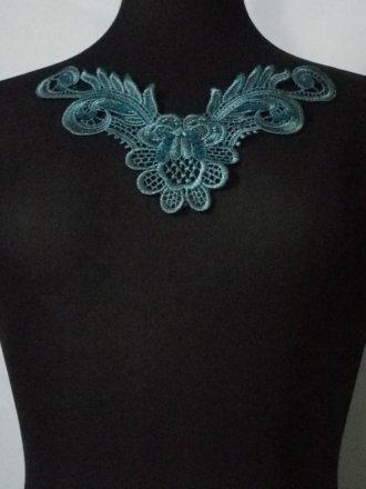 Sequin Floral Lace Neck Piece- Peacock Blue EM140 PCKBL