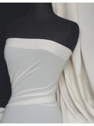 Paris Mesh Non-Lycra 4 Way Stretch Light Jersey Fabric- Ivory White Q450 IVWHT