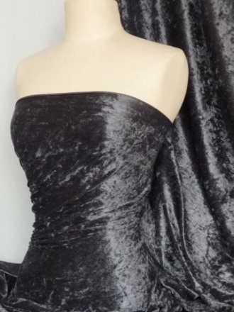 Crushed Velvet/Velour Stretch Material- Charcoal Grey Q156 CHGR