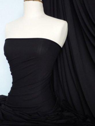 Clearance Viscose Cotton Stretch Lycra Medium Weight Fabric- Black SQ128 BK