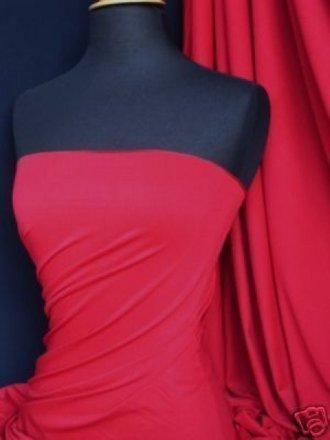 Viscose Cotton Stretch Lycra Fabric- Red Q300 RD