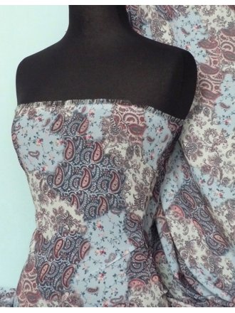 Chiffon Soft Touch Sheer Fabric- Blue Paisley Patch Q378 BL
