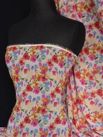 Chiffon Soft Touch Sheer Fabric- Tori Floral Q481 TR