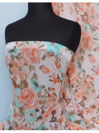 Chiffon Soft Touch Sheer Fabric - Coral Vintage Floral Q512 CRL