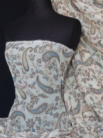 Chiffon Soft Touch Sheer Fabric- Paisley Print Q684 STNBL