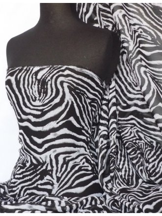 Chiffon Soft Touch Sheer Fabric- Zebra Q687 BKWHT