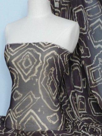 Chiffon Tie Dye Sheer Fabric - Brown Geometric Q754 BR