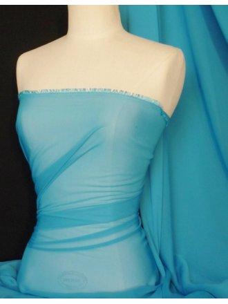 Silky Sheer Chiffon Fabric- Turquoise Q727 TQ