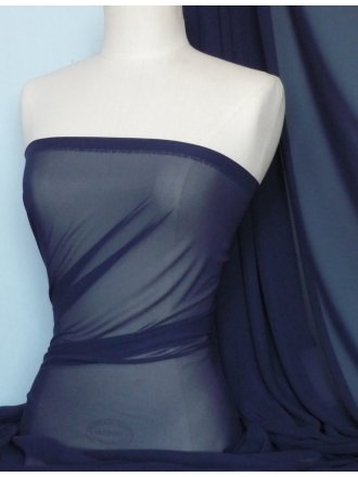 Chiffon Soft Touch Sheer Fabric Material- Navy Q354 NY