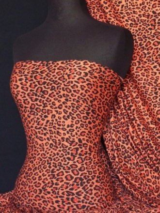 Viscose Cotton Stretch Fabric- Leopard Orange/Black Q701 ORBK