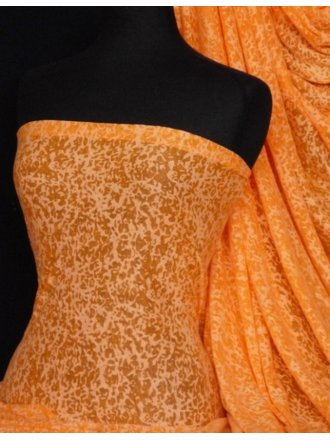 Viscose Burnout Stretch Fabric- Flo Orange Mini Leopard Q975 FLOR