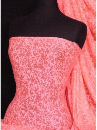 Viscose Burnout Stretch Fabric- Flo Pink Mini Leopard Q975 FLPN
