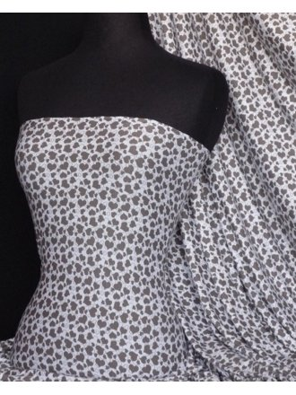 Viscose Cotton Stretch Fabric- Mocha Heart Q884 MCHWH