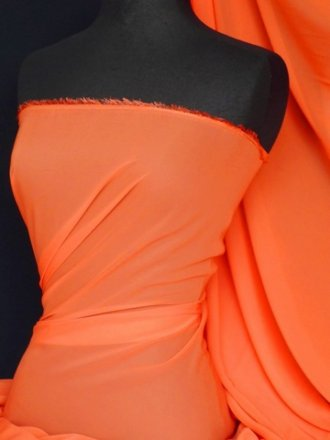Chiffon Soft Touch Sheer Fabric Material- Tangerine Q354 TANG