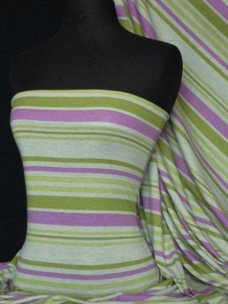 Viscose Cotton Stretch Fabric- Green Multi Stripe Q666 PNGRN