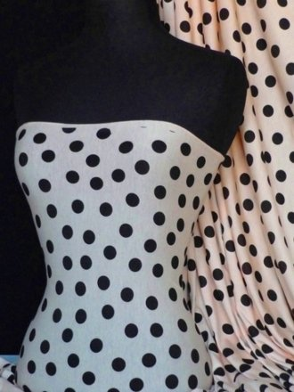 Viscose Cotton Stretch Fabric- Polka Dots Peach/Black Q768 PCHBK