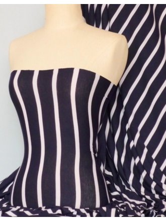 Viscose Cotton Stretch Fabric- Wide Stripe White/Navy Q273 NYWHT