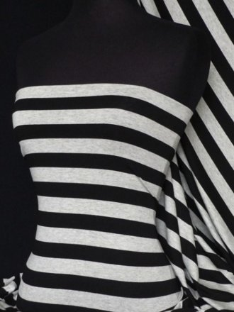 Viscose Cotton Stretch Fabric- Stripe Black/Grey Q718 BKSLGR
