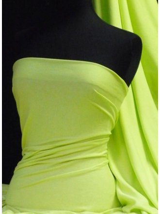 100% Cotton Interlock Knit Soft Jersey T-Shirt Fabric- Flo Lime Q60 FLM